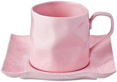 Чашка с блюдцем Lefard Раффл пинк / 264-948
