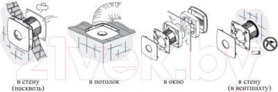 Вентилятор вытяжной Cata B-10 Plus Cord - способы установки