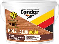 Защитно-декоративный состав CONDOR Holz Lazur Aqua (9кг, белый молочный) -