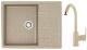 Мойка кухонная Berge BG-6502 + смеситель GR-3505 (песочный глянец/классик) -
