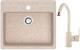 Мойка кухонная Berge BR-5750 + смеситель GR-3505 (бежевый/пирит) -