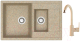 Мойка кухонная Berge BR-7612 + смеситель GR-3505 (песочный/классик) -