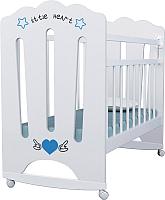 Детская кроватка VDK Little Heart колесо-качалка (белый) -