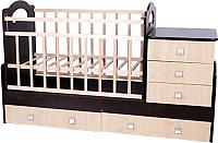 Детская кровать-трансформер VDK Infanzia с маятником (венге/бежевый) -