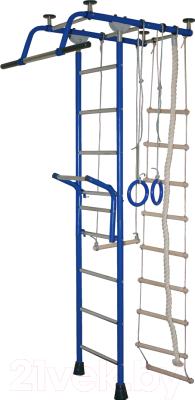 Детский спортивный комплекс Крепыш Т-образный с навесным турником (синий)