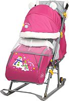 Санки-коляска Ника Детям 6 / НД6 (снеговик, розовый) -