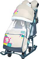 Санки-коляска Ника Детям 7-2 New (мишка, бежевый) -
