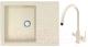 Мойка кухонная Berge BG-5850 + смеситель Spring 3509L (бежевый глянец/пирит) -