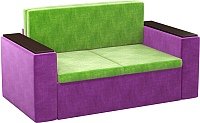 Диван Mebelico Арси 2 (микровельвет, зеленый/фиолетовый) -