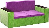 Диван Mebelico Арси 2 (микровельвет, фиолетовый/зеленый) -
