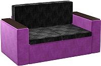 Диван Mebelico Арси 2 (микровельвет, черный/фиолетовый) -