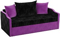 Диван Mebelico Дороти / 59381 (микровельвет, черный/фиолетовый) -