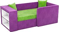 Кровать-тахта Mebelico Орнелла 5 (микровельвет, зеленый/фиолетовый) -