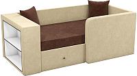 Кровать-тахта Mebelico Орнелла 5 (микровельвет, коричневый/бежевый) -