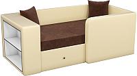 Кровать-тахта Mebelico Орнелла 5 (микровельвет коричневый/экокожа бежевый) -