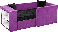 Кровать-тахта Mebelico Орнелла 5 (микровельвет, черный/фиолетовый) -