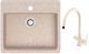 Мойка кухонная Berge BR-5750 + смеситель Spring 3509L (бежевый/пирит) -