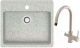 Мойка кухонная Berge BR-5750 + смеситель Spring 3509L (серый/базальт) -