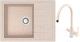 Мойка кухонная Berge BR-5850 + смеситель Spring 3509L (бежевый/пирит) -