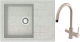 Мойка кухонная Berge BR-5850 + смеситель Spring 3509L (серый/базальт) -