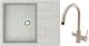 Мойка кухонная Berge BR-6502 + смеситель Spring 3509L (серый/базальт) -