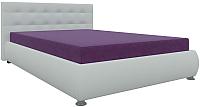Полуторная кровать Mebelico Рио 17 / 58670 (микровельвет фиолетовый/экокожа белый) -
