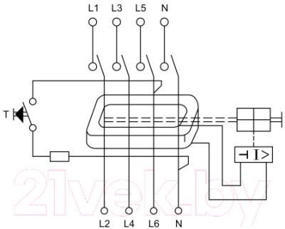 Устройство защитного отключения КС У1-63 4Р 80А/30мА - Схема подключения