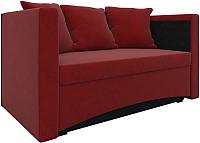 Тахта Mebelico Принц 29 левый / 57887 (микровельвет, красный/черный) -
