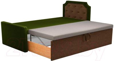 Двухъярусная кровать Mebelico Севилья 30 / 59588 (микровельвет, зеленый/коричневый)