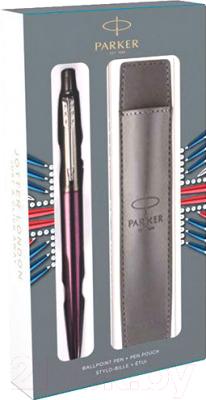 Ручка шариковая имиджевая Parker Jotter Victoria Violet CT + чехол 2061286