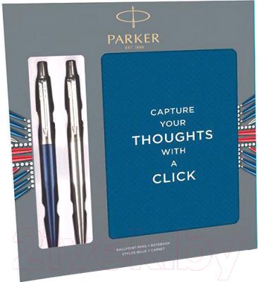 Письменный набор имиджевый Parker Jot Wtrloo Blue CT + SS CT + блокнот / 2062782