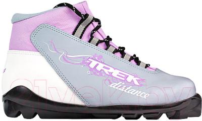 Ботинки для беговых лыж TREK Distance Women SNS (серый металлик/сиреневый, р-р 42)