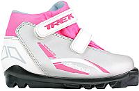 Ботинки для беговых лыж TREK Distance детские SNS (серебристый/розовый, р-р 32) -