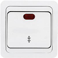Выключатель EKF Лондон 1кл 10А с индикатором проходной / EEV10-125-10 (белый) -