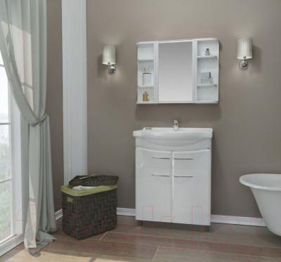Шкаф с зеркалом для ванной Berossi Hilton НВ 33301000 (снежно-белый)