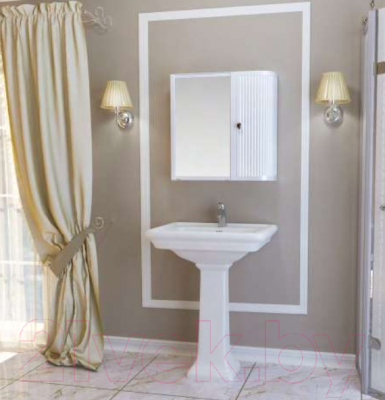 Шкаф с зеркалом для ванной Berossi Hilton Premium Right НВ 33701000 (снежно-белый)