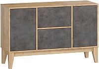 Комод Woodcraft Гарленд 9997 (дуб гамильтон натуральный/бетон чикаго темно-серый) -