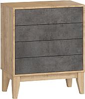 Комод Woodcraft Гарленд 9999 (дуб гамильтон натуральный/бетон чикаго темно-серый) -