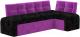 Уголок кухонный мягкий Mebelico Люксор 39 правый / 58938 (микровельвет, черный/фиолетовый) -
