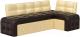 Уголок кухонный мягкий Mebelico Люксор 39 правый / 58935 (экокожа, коричневый/бежевый) -