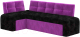 Уголок кухонный мягкий Mebelico Люксор 39 левый / 58938 (микровельвет, черный/фиолетовый) -
