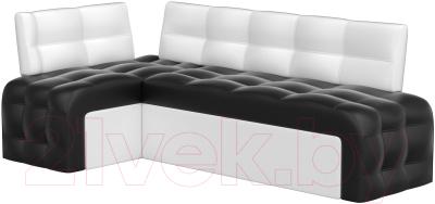 Уголок кухонный мягкий Mebelico Люксор 39 левый / 58916 (экокожа, черный/белый)