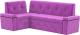 Уголок кухонный мягкий Mebelico Деметра 45 левый / 58973 (микровельвет, фиолетовый) -