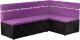 Уголок кухонный мягкий Mebelico Классик 53 правый / 59119 (микровельвет, фиолетовый/черный) -