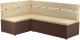 Уголок кухонный мягкий Mebelico Классик 53 левый / 59115 (микровельвет, бежевый/коричневый) -