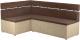 Уголок кухонный мягкий Mebelico Классик 53 левый / 59116 (микровельвет, коричневый/бежевый) -