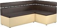 Уголок кухонный мягкий Mebelico Классик 53 правый / 59118 (экокожа, коричневый/бежевый) -