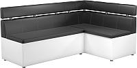 Уголок кухонный мягкий Mebelico Классик 53 правый / 59120 (экокожа, черный/белый) -