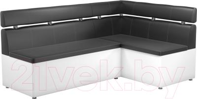Уголок кухонный мягкий Mebelico Классик 53 правый / 59120 (экокожа, черный/белый)
