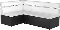 Уголок кухонный мягкий Mebelico Классик 53 левый / 59114 (экокожа, белый/черный) -